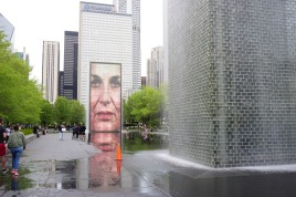 Millennium Park water fountain with screen